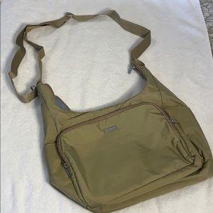 LN Baggalini crossbody Travel Bag Tan Nylon